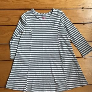 Faded glory gray and white striped dress girls 6